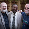 Three presidents of the Haiku Society of America gave their ninjas the slip for this photo in Kate's garden: John, Lenard, and David.